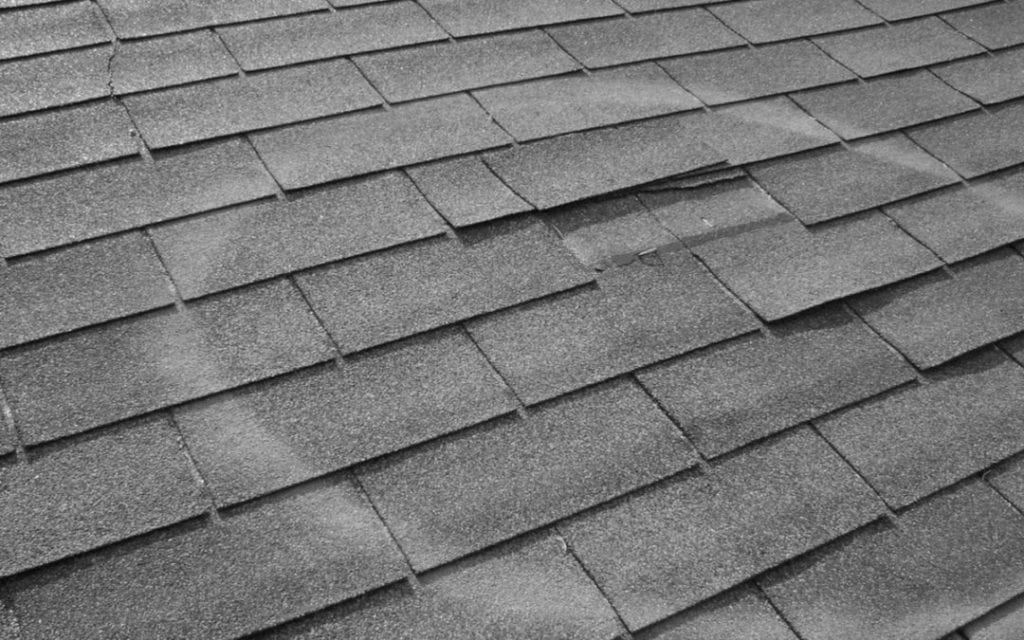 hail damage on roof shingles